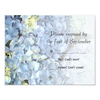 Blue Hydrangea Wedding RSVP Response Card Custom Invitations