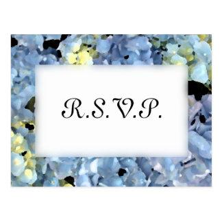 Blue Hydrangea Wedding RSVP Response Postcard