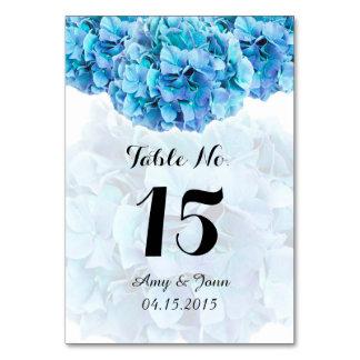 Blue hydrangea wedding table numbers hydrangea3