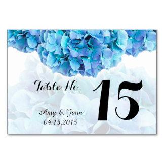Blue hydrangea wedding table numbers hydrangea3 card