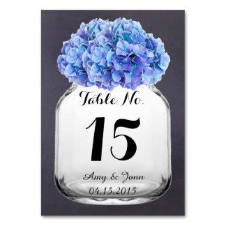 Blue hydrangea wedding table numbers hydrangea7 table card