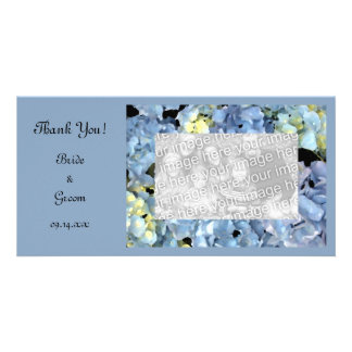 Blue Hydrangea Wedding Thank You Photo Card
