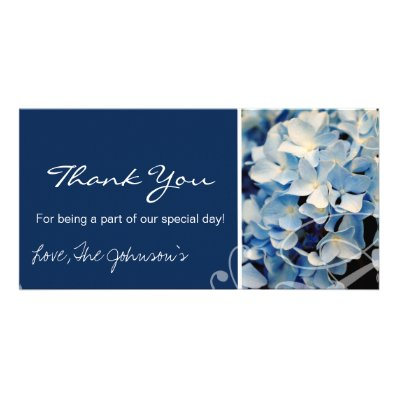 Blue Hydrangea Wedding Thank You Photo Cards
