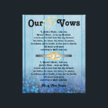 "Blue Hydrangea Wedding Vows on Canvas<br><div class=""desc"">Weddings vows printed on canvas,  with space for name of bride and groom. Wedding vow keepsake gift with custom words and names. Memento of traditional wedding vows for him or for her</div>"