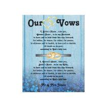 Blue Hydrangea Wedding Vows on Canvas