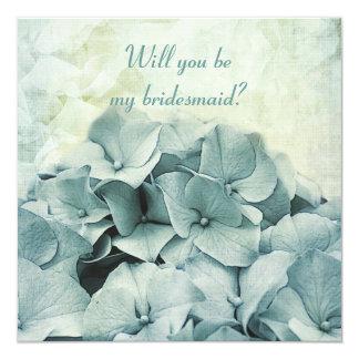 blue hydrangea Will you be my bridesmaid request Invitation