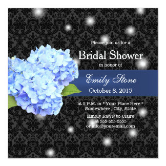 Blue Hydrangea with Fireflies Damask Bridal Shower 5.25x5.25 Square Paper Invitation Card