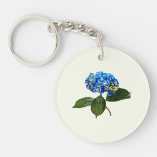 Blue Hydrangea With Leaves Double-Sided Round Acrylic Keychain