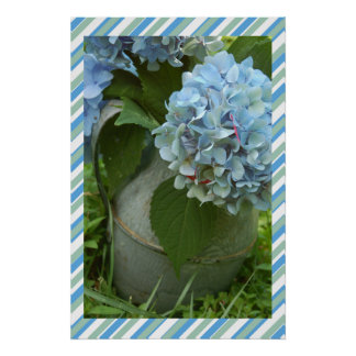 Blue Hydrangea with Striped Background Poster