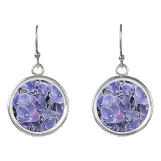 Blue Hydrangea with White Border Earrings