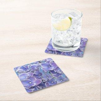 Blue Hydrangea with White Border Paper Coaster