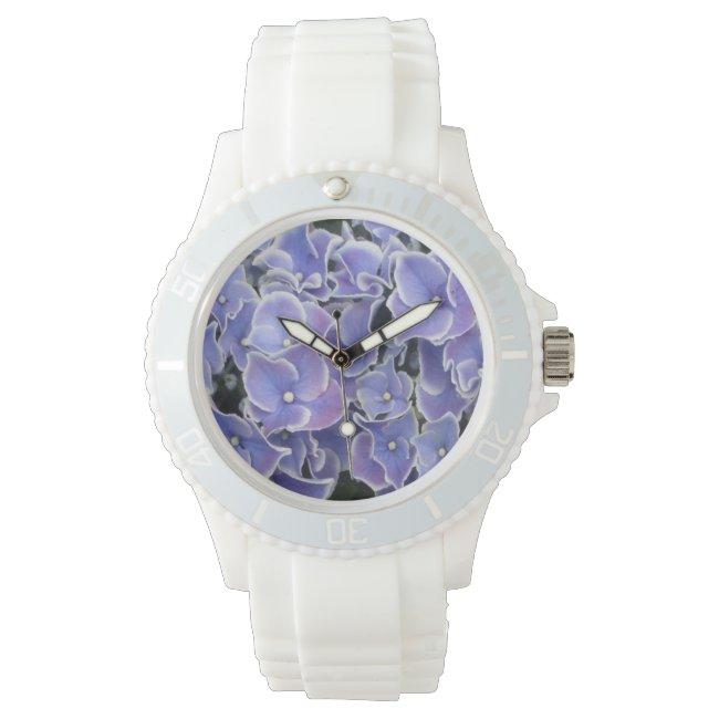 Blue Hydrangea with white border sporty watch