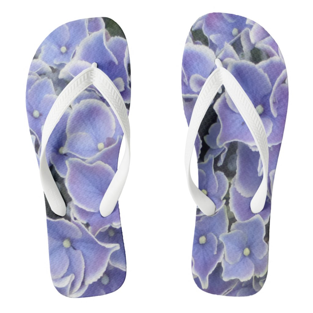 Blue Hydrangea with white border Women Flip Flops