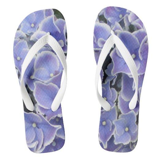 Blue Hydrangea with white border Women Flip Flops