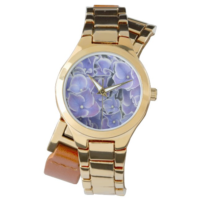 Blue Hydrangea with white border wrap around watch