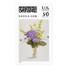Blue Hydrangea with Yellow Loosestrife Postage