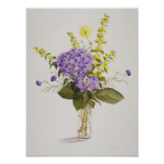 Blue Hydrangea with Yellow Loosestrife Poster
