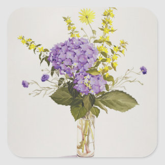 Blue Hydrangea with Yellow Loosestrife Square Sticker