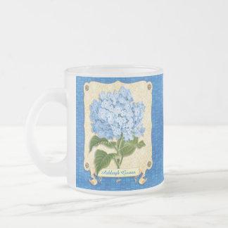 Blue Hydrangea Yellow Damask Banner Tile Cutouts 10 Oz Frosted Glass Coffee Mug