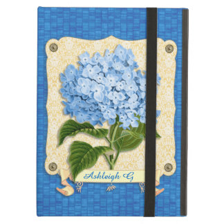 Blue Hydrangea Yellow Damask Banner Tile Cutouts Cover For iPad Air