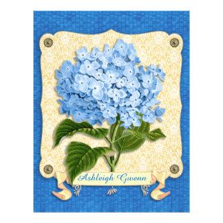 Blue Hydrangea Yellow Damask Banner Tile Cutouts Letterhead