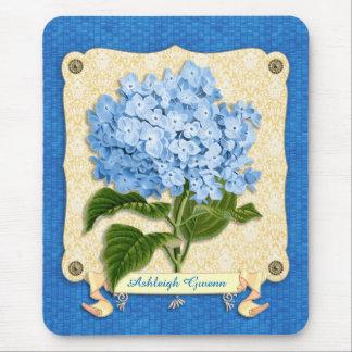 Blue Hydrangea Yellow Damask Banner Tile Cutouts Mouse Pad