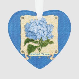 Blue Hydrangea Yellow Damask Banner Tile Cutouts Ornament
