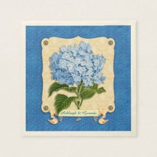 Blue Hydrangea Yellow Damask Banner Tile Cutouts Paper Napkin