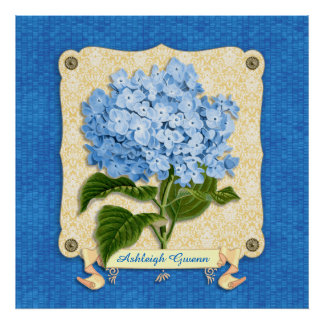 Blue Hydrangea Yellow Damask Banner Tile Cutouts Posters