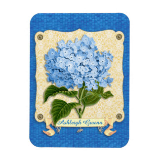 Blue Hydrangea Yellow Damask Banner Tile Cutouts Rectangle Magnets