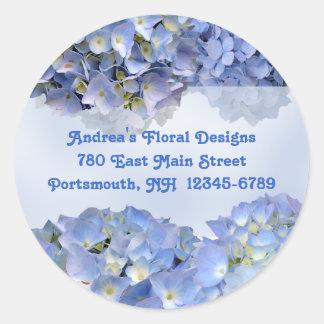 Blue Hydrangeas Address Labels Baby Blue Round Stickers