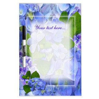 Blue Hydrangeas and Butterflies Dry Erase Board