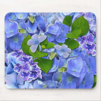 Blue Hydrangeas and Butterflies Mouse Pad