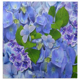 Blue Hydrangeas and Butterflies Printed Napkins