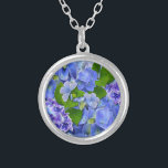 """Blue Hydrangeas and Butterflies Silver Plated Necklace<br><div class=""""desc"""">Lovely hydrangea flowers in  shades of blue and mauve,  with little blue butterflies.</div>"""