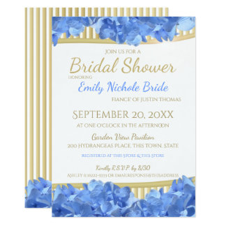 Blue Hydrangeas and Gold Stripes Bridal Shower Card