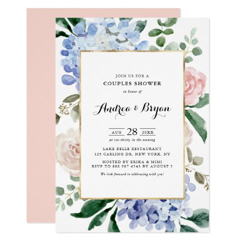 Blue Hydrangeas and Pink Roses Couples Shower Invitation