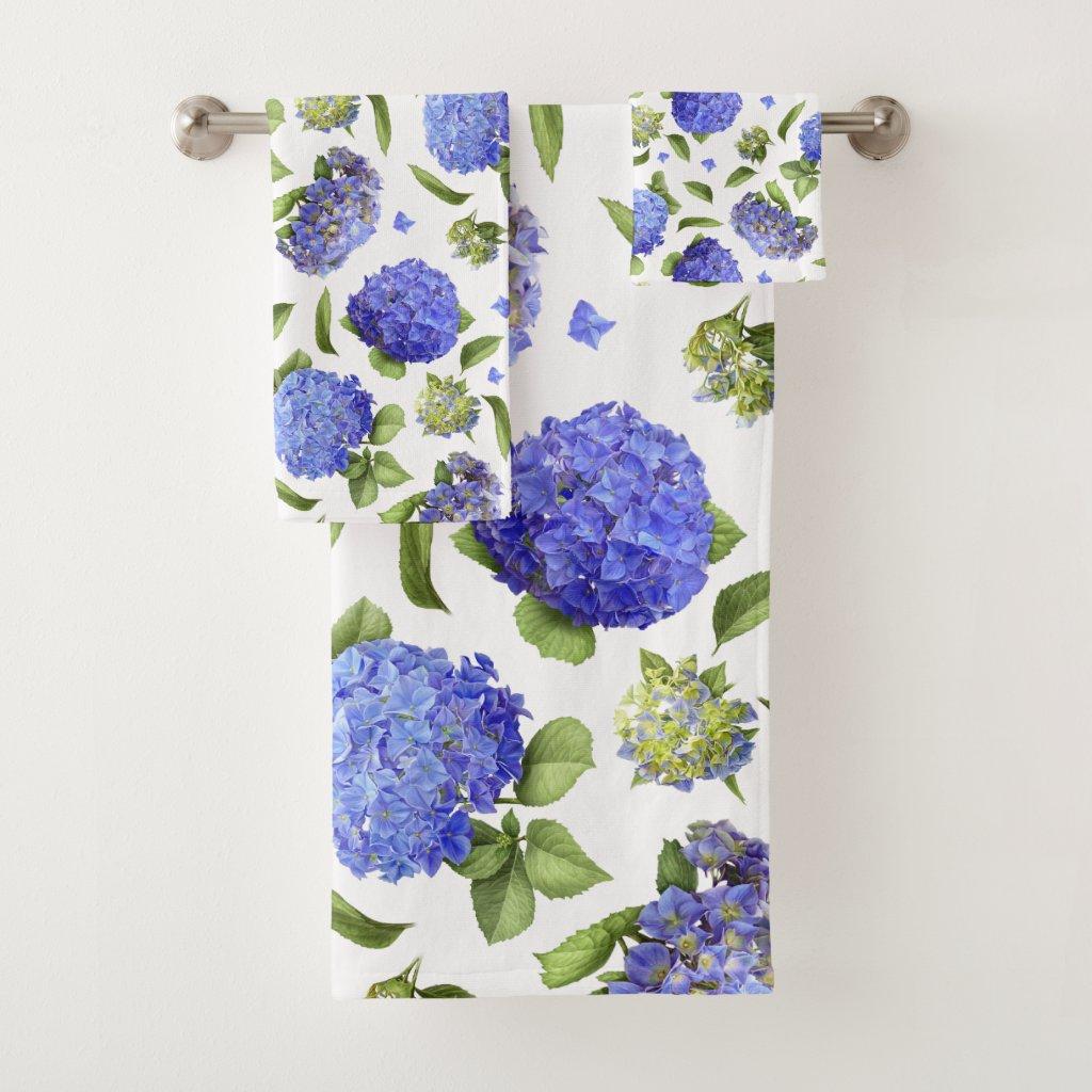 Blue Hydrangeas Bath Towel Set