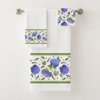 Blue Hydrangeas Bath Towel Set