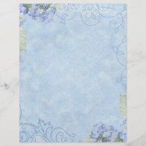 Blue Hydrangeas, Butterfly & Swirl Modern Floral