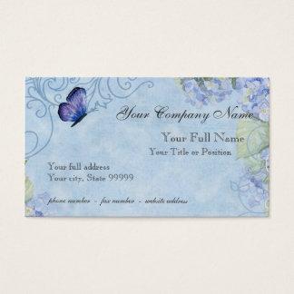 Blue Hydrangeas, Butterfly & Swirl Modern Floral Business Card