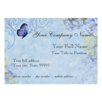 Blue Hydrangeas, Butterfly & Swirl Modern Floral Large Business Cards (Pack Of 100)