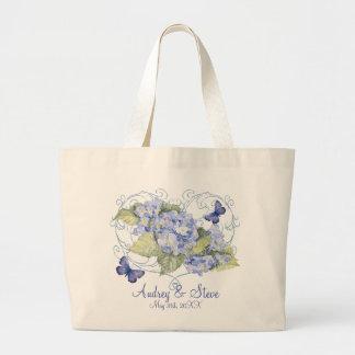 Blue Hydrangeas, Butterfly & Swirl Modern Floral Large Tote Bag