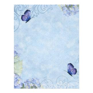 Blue Hydrangeas, Butterfly & Swirl Modern Floral Custom Letterhead