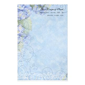 Blue Hydrangeas, Butterfly & Swirl Modern Floral Stationery