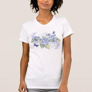 Blue Hydrangeas, Butterfly & Swirl Modern Floral T-Shirt