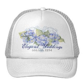Blue Hydrangeas, Butterfly & Swirl Modern Floral Trucker Hat