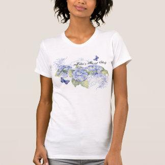 Blue Hydrangeas, Butterfly & Swirl Modern Floral Tees