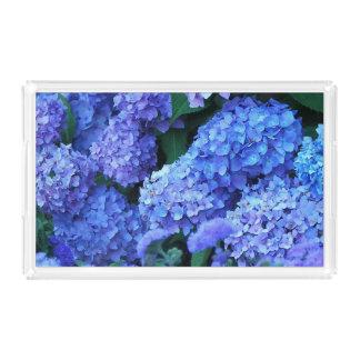 Blue Hydrangeas Floral Acrylic Tray
