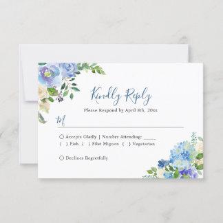 Blue Hydrangeas Floral Chic Wedding RSVP Reply